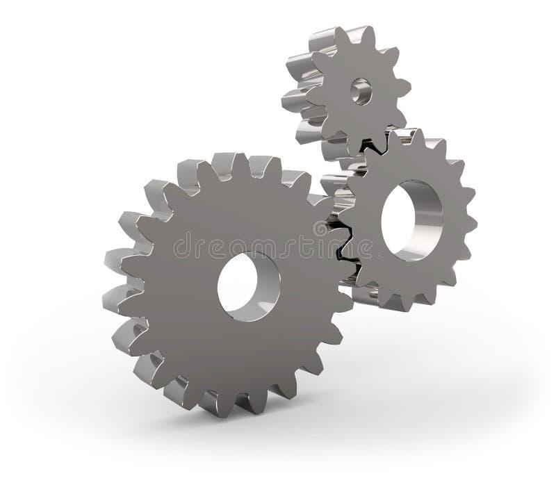 Sistema de ruedas de engranaje del metal stock de ilustración