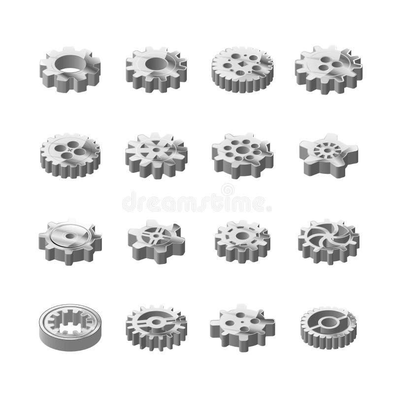 Sistema de ruedas dentadas brillantes del metal en la opinión isométrica sobre blanco stock de ilustración