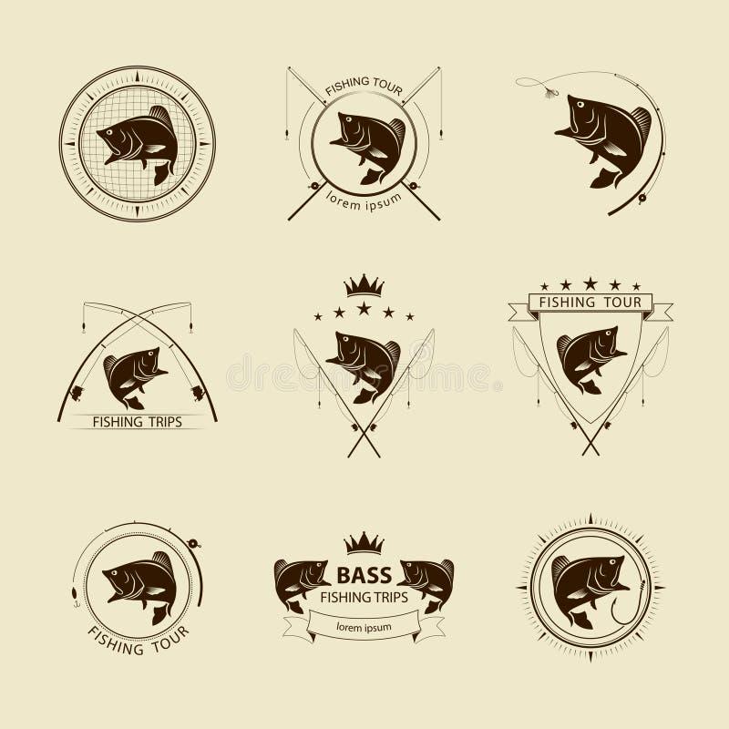 Sistema de símbolo de la pesca del vector ilustración del vector