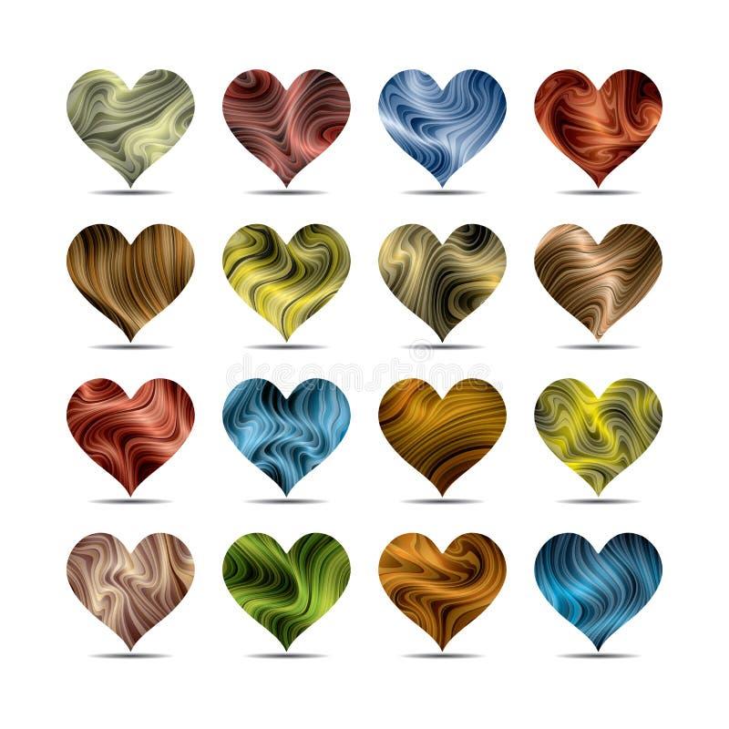 Sistema de símbolo del corazón del día de tarjeta del día de San Valentín stock de ilustración