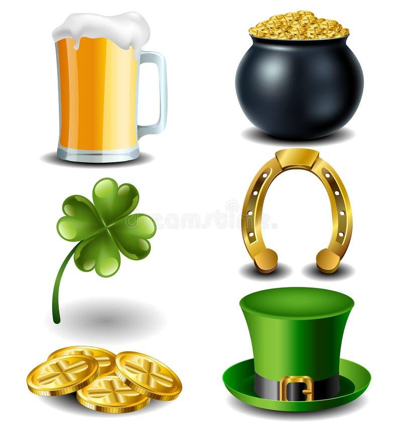 Sistema de símbolo del día de St Patrick ilustración del vector