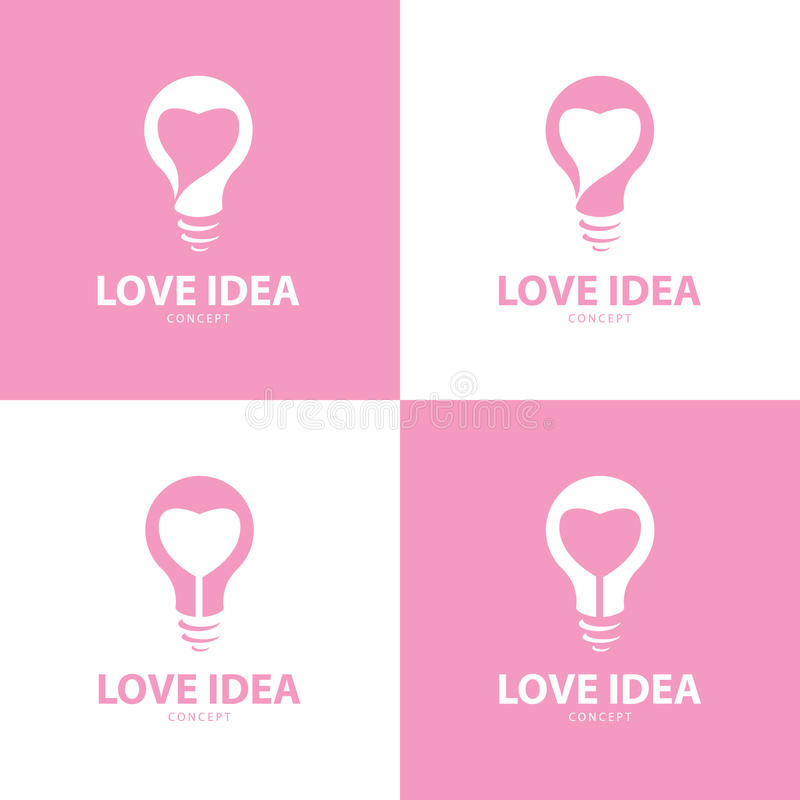 Sistema de símbolo del icono de la idea del amor ilustración del vector