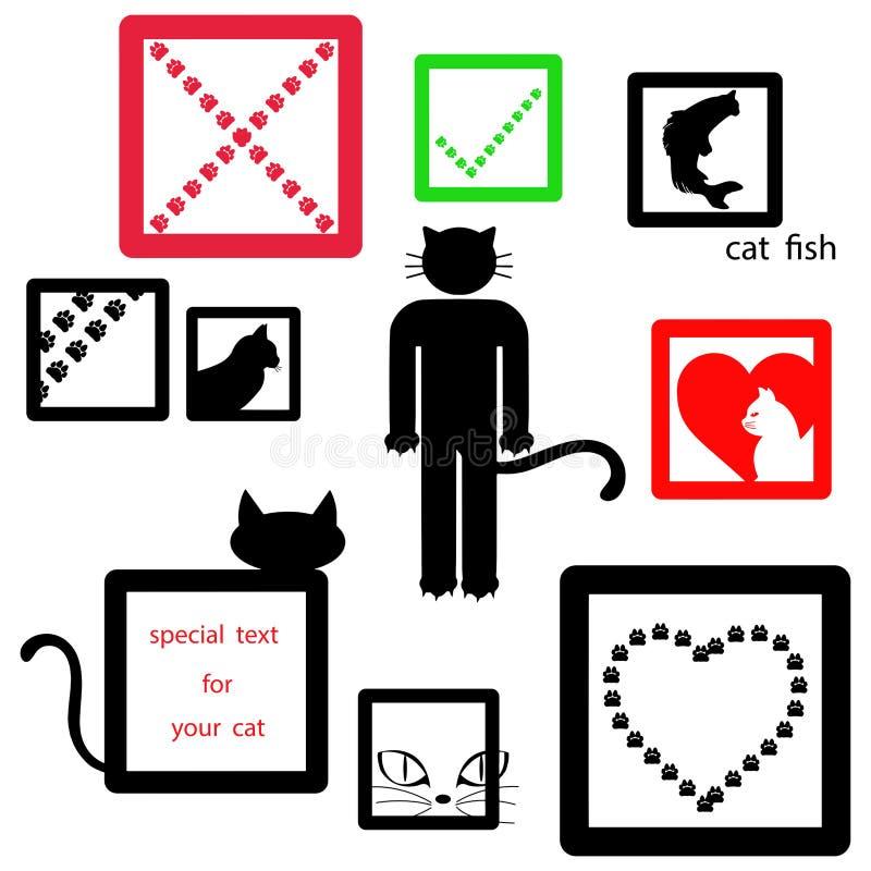 Sistema de símbolo del icono del gato aislado en el fondo blanco, vector libre illustration