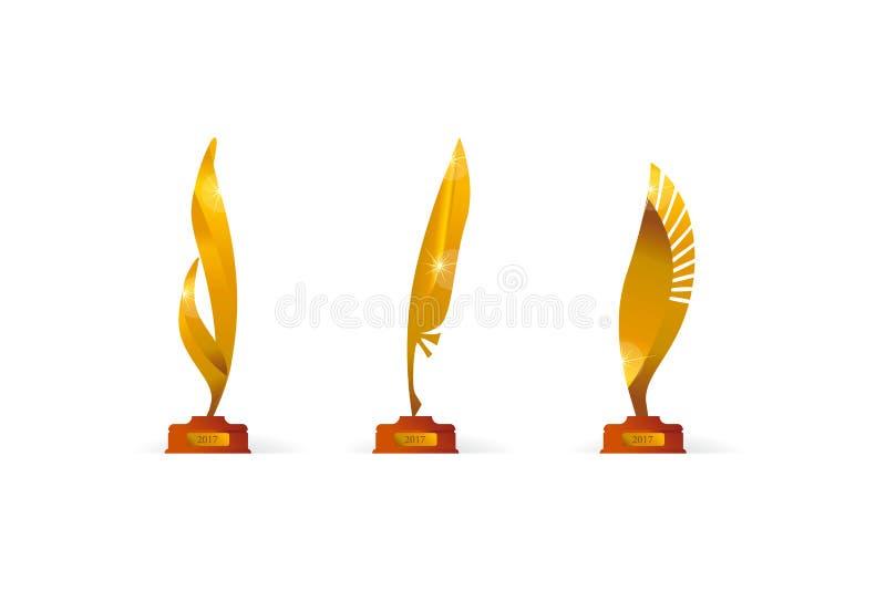 Sistema de símbolo del oro del precio del premio en pluma stock de ilustración