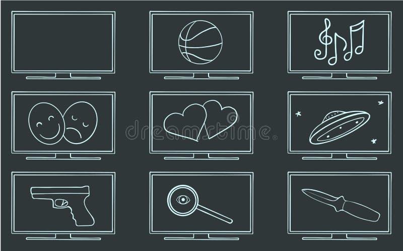 Sistema de símbolo de los géneros de la película TV ilustración del vector
