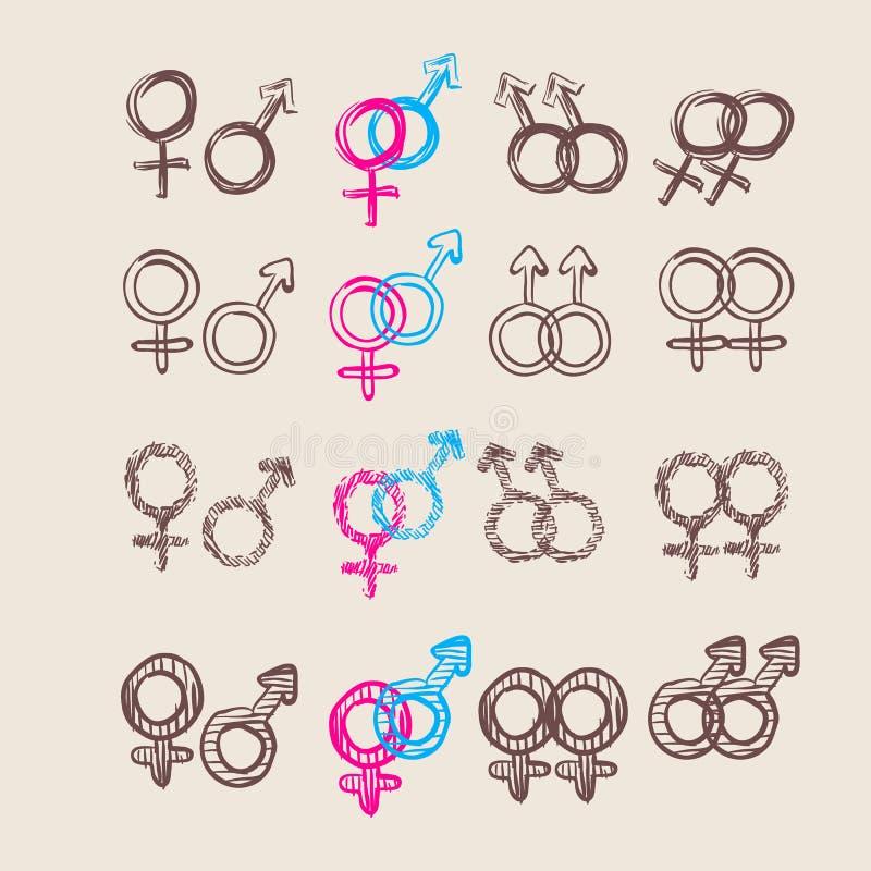 Sistema de símbolo masculino y femenino Vector ilustración del vector