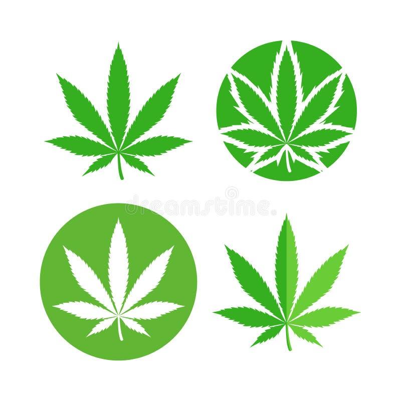 Sistema de símbolo verde de la hoja de la marijuana icono del cáñamo libre illustration