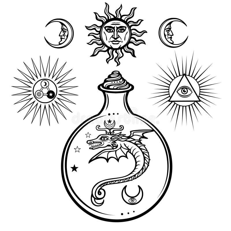 Sistema de símbolos alquímicos Origen de la vida Serpientes místicas en un frasco Religión, misticismo, ocultismo, brujería stock de ilustración
