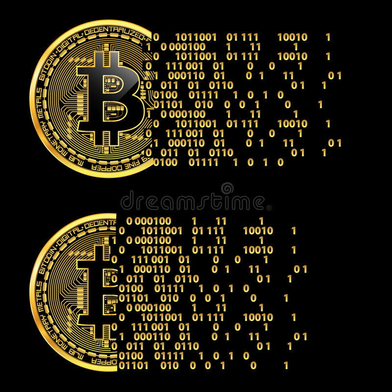 Sistema de símbolos de oro del bitcoin crypto de la moneda ilustración del vector