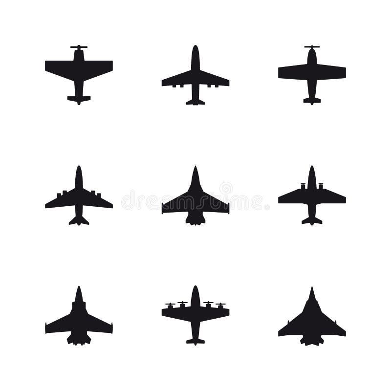 Sistema de símbolos del aeroplano Aviones, avión, iconos del negro azabache stock de ilustración