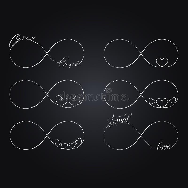 Sistema de símbolos del amor del infinito ilustración del vector