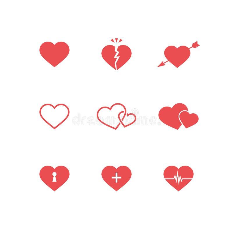 sistema de símbolos del corazón stock de ilustración - imagen