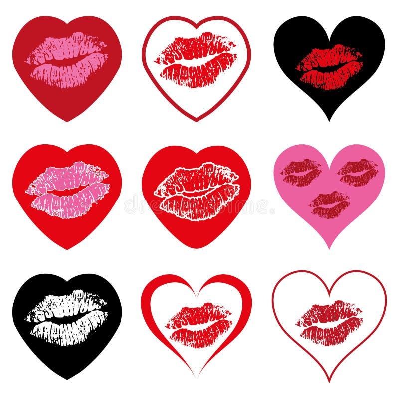sistema de símbolos del corazón con beso fotos de archivo - imagen