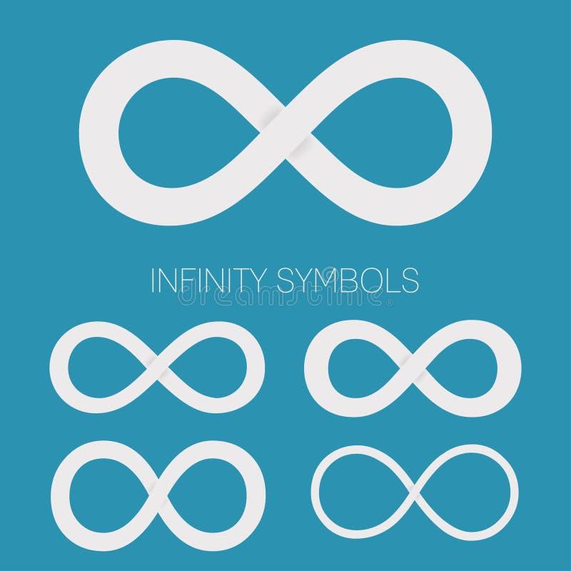 Sistema de símbolos del infinito Diversas formas para los logotipos stock de ilustración