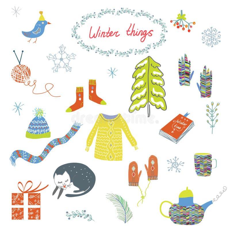 Sistema de símbolos del invierno y de la Navidad - diseño divertido ilustración del vector