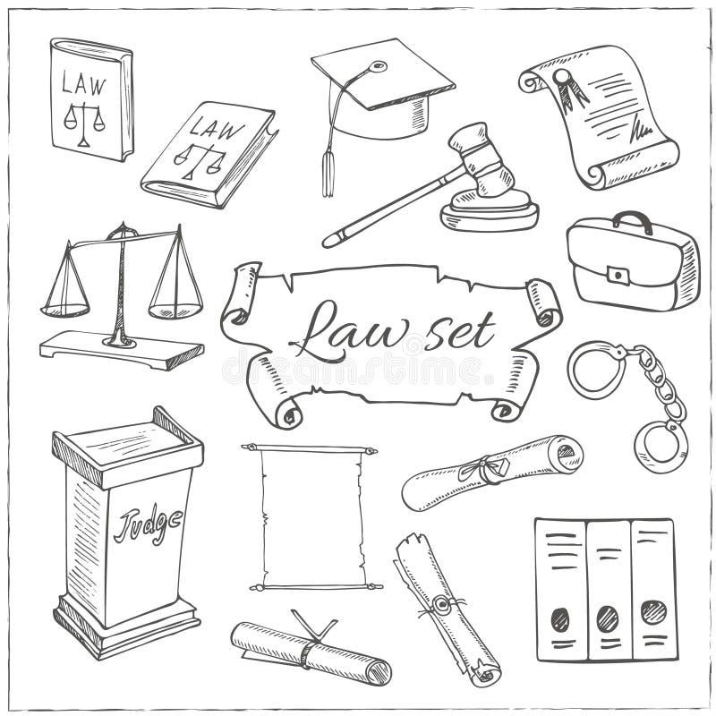 Sistema de símbolos dibujado mano de la ley ilustración del vector