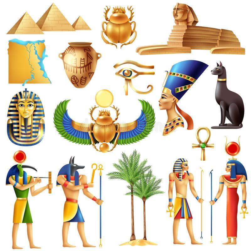 Sistema de símbolos de Egipto ilustración del vector