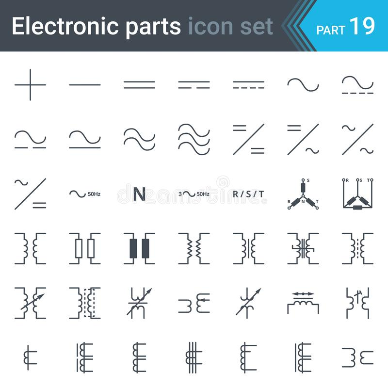 Sistema de símbolos eléctrico de conexiones actuales, trifásicas y de transformadores eléctricos stock de ilustración