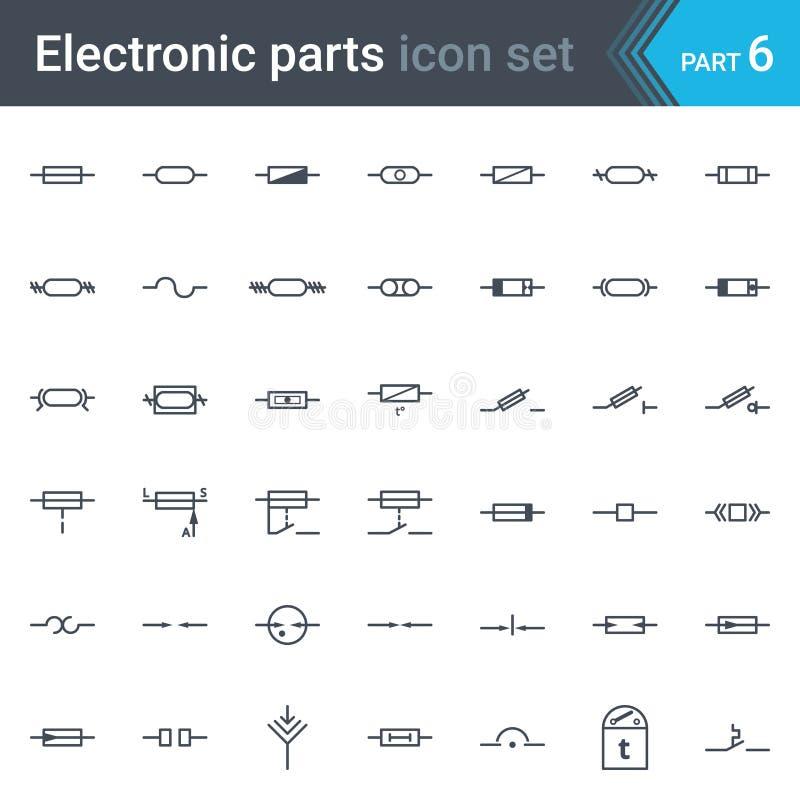 Sistema de símbolos eléctrico y electrónico del esquema circular de fusibles y de símbolos eléctricos de la protección ilustración del vector
