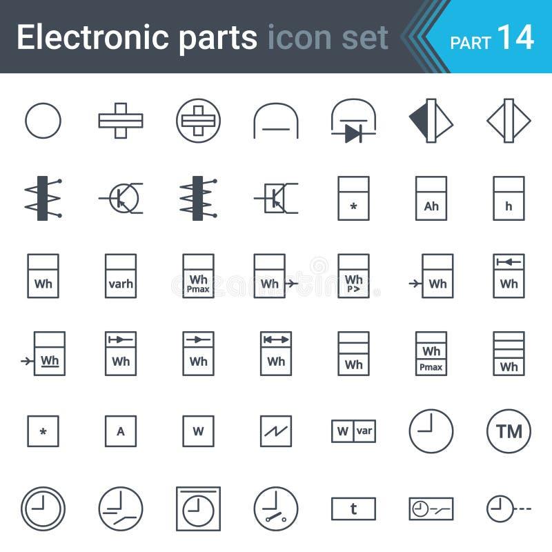 Sistema de símbolos eléctrico y electrónico del esquema circular de instrumentación eléctrica, metros, registradores, contadores, stock de ilustración