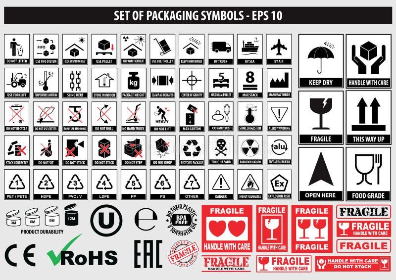 Sistema de símbolos de empaquetado, FCC, ROHS, vajilla, plástico, símbolos frágiles, símbolos de la cartulina ilustración del vector