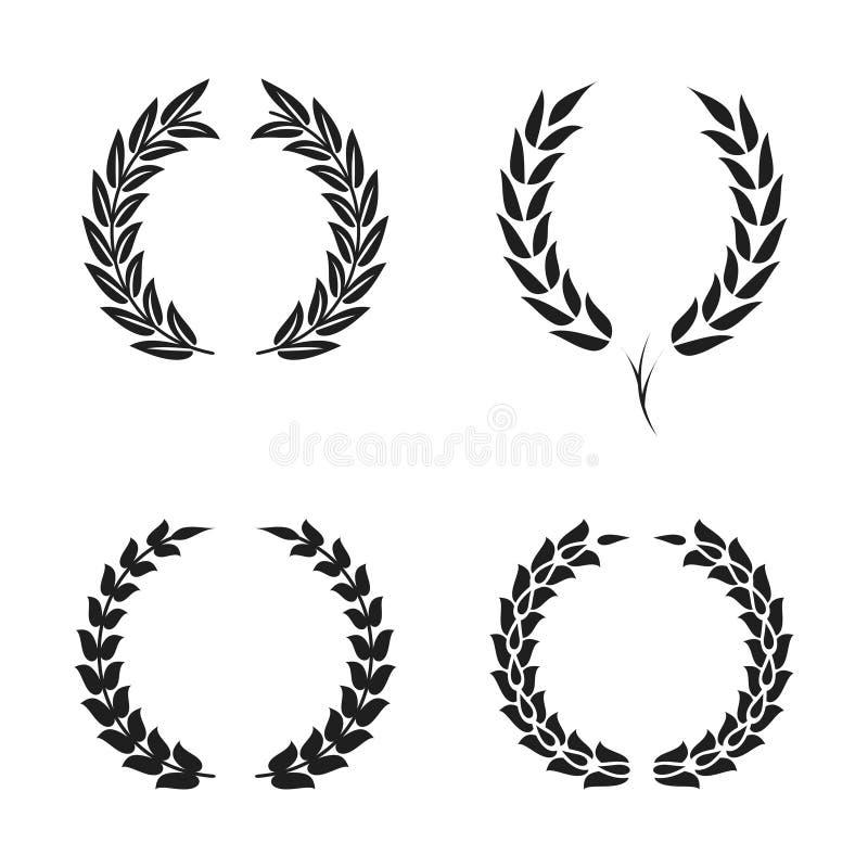 Sistema de símbolos foliado de la guirnalda del laurel Las siluetas circulares negras del laurel enrruellan con las hojas para el libre illustration