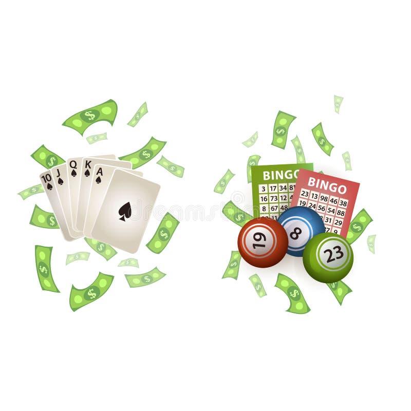 Sistema de símbolos de juego del casino plano del vector libre illustration