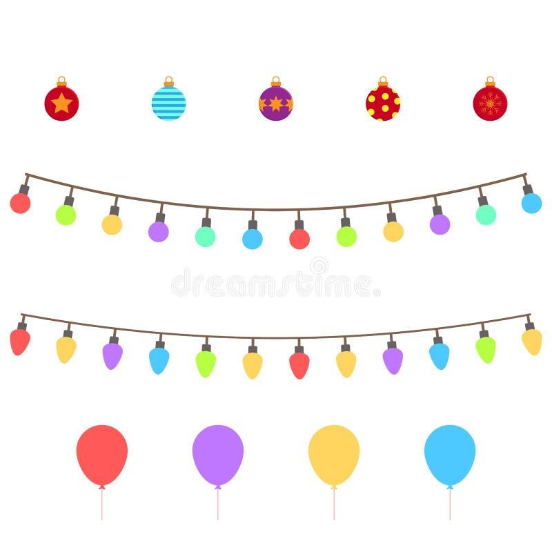 Sistema de símbolos de la Navidad Iconos coloridos de la Navidad aislados en el fondo transparente blanco Cualidades tradicionale stock de ilustración