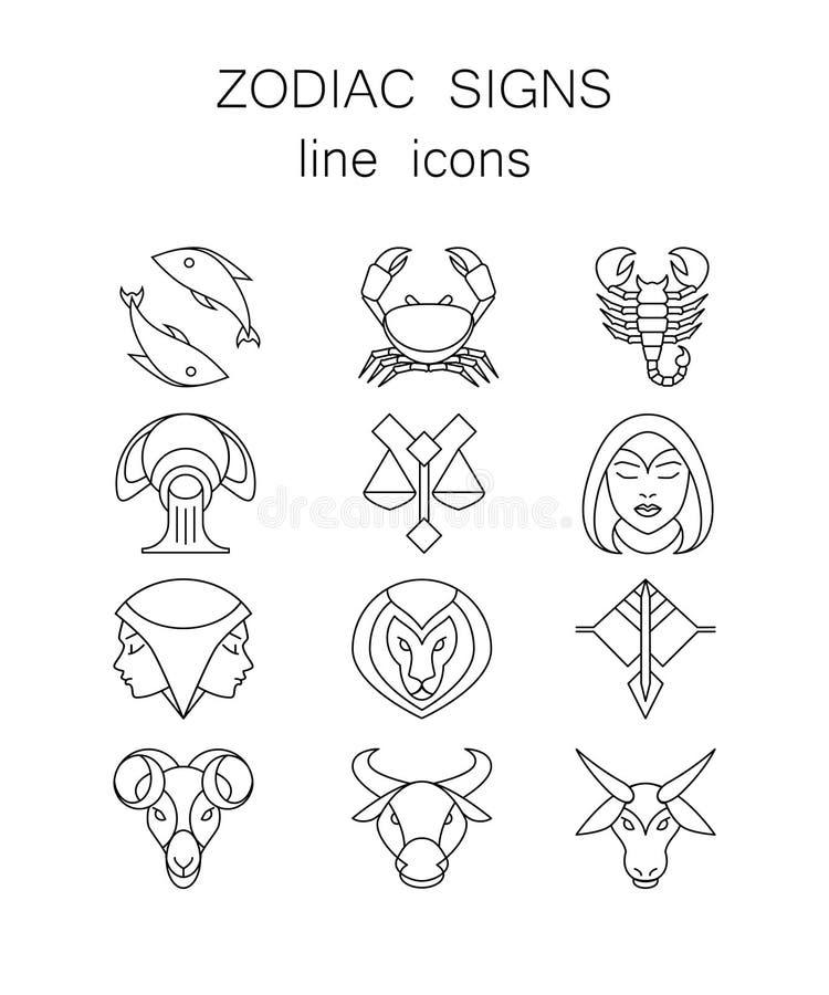 Sistema de símbolos linear, 12 muestras del zodiaco stock de ilustración
