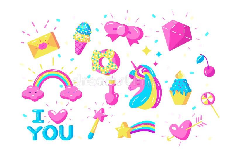Sistema de símbolos de los unicornios ilustración del vector