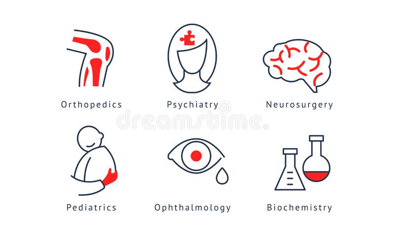 Sistema de símbolos médico de la especialización, ortopedia, psiquiatría, neurocirugía, bioquímica, pediatría, oftalmología stock de ilustración