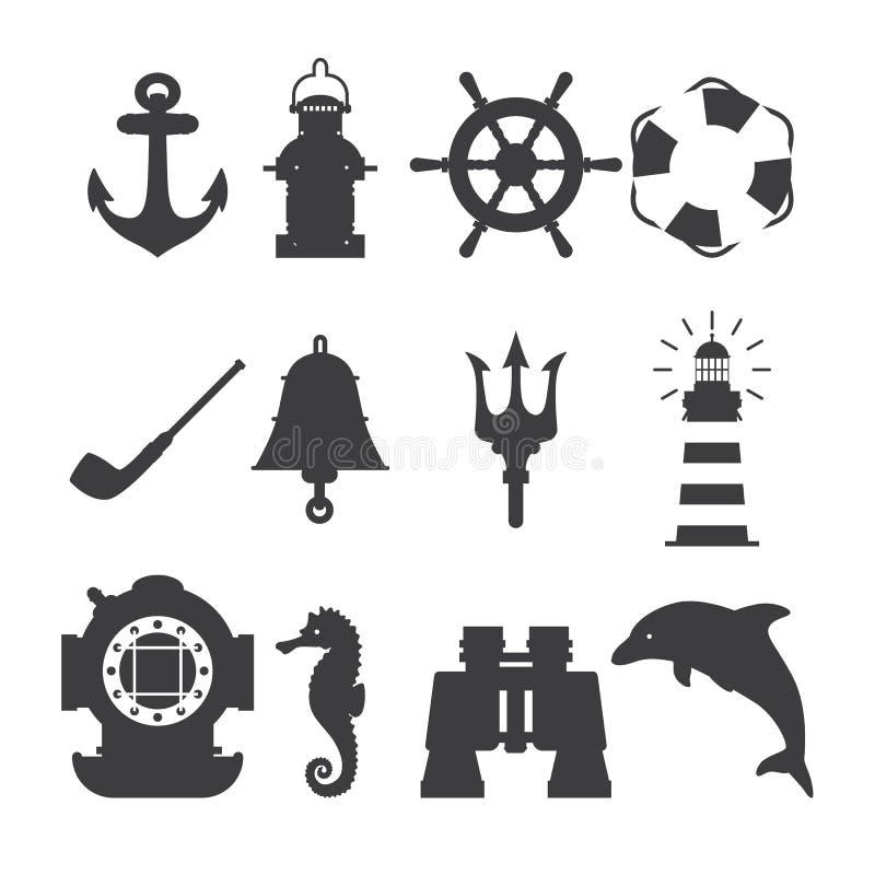 Sistema de símbolos marinos Vector de iconos náuticos y marinos Colección de ancla del elemento, estrella de mar, barco, salvavid stock de ilustración