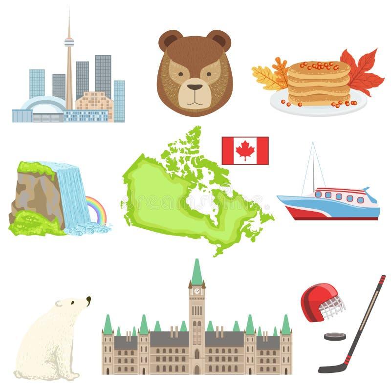 Sistema de símbolos nacionales canadiense ilustración del vector
