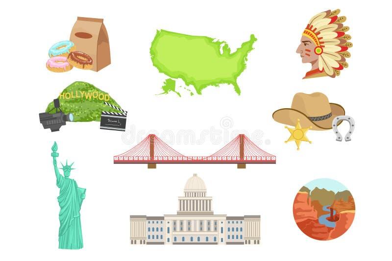 Sistema de símbolos nacionales de los E.E.U.U. de artículos Objetos aislados que representan los Estados Unidos de América stock de ilustración