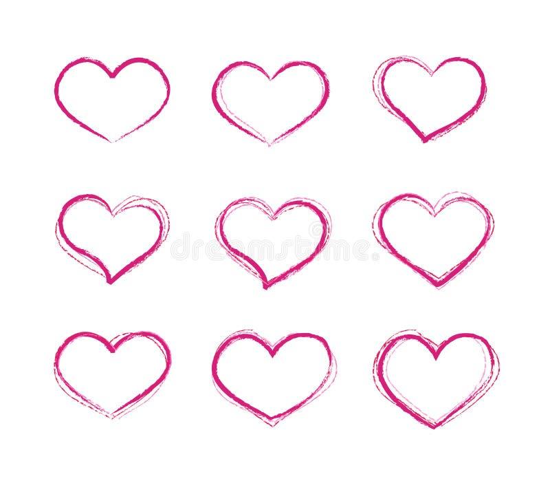 Sistema de símbolos retro del corazón del vector del grunge del garabato stock de ilustración