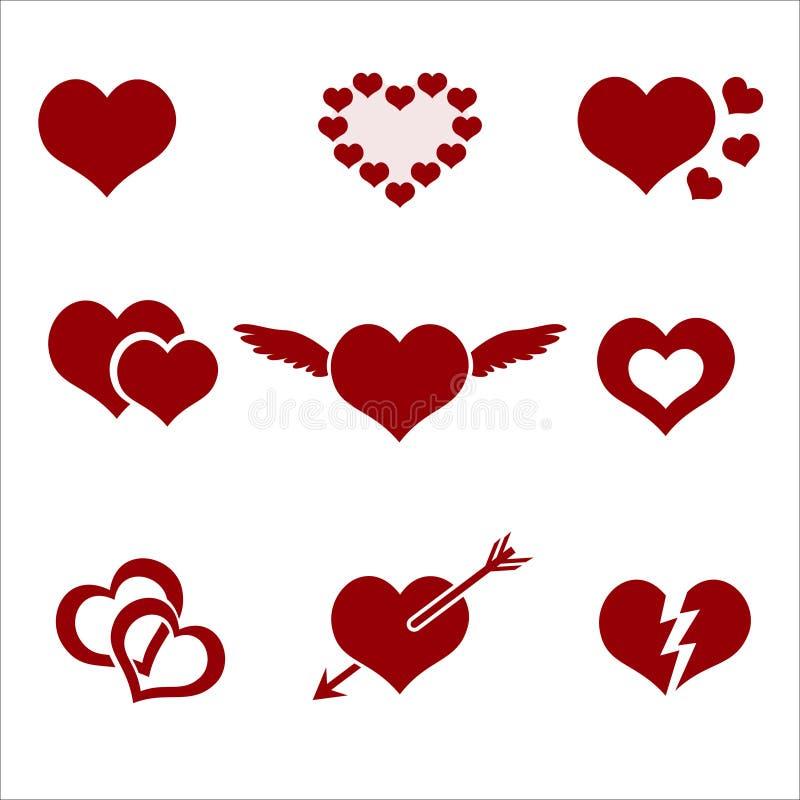 Sistema de símbolos rojos del amor del hogar de la tarjeta del día de San Valentín libre illustration