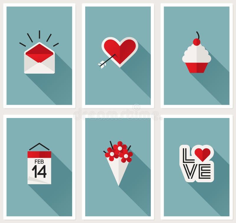 Sistema de símbolos románticos del día de tarjetas del día de San Valentín. Ejemplo del vector libre illustration