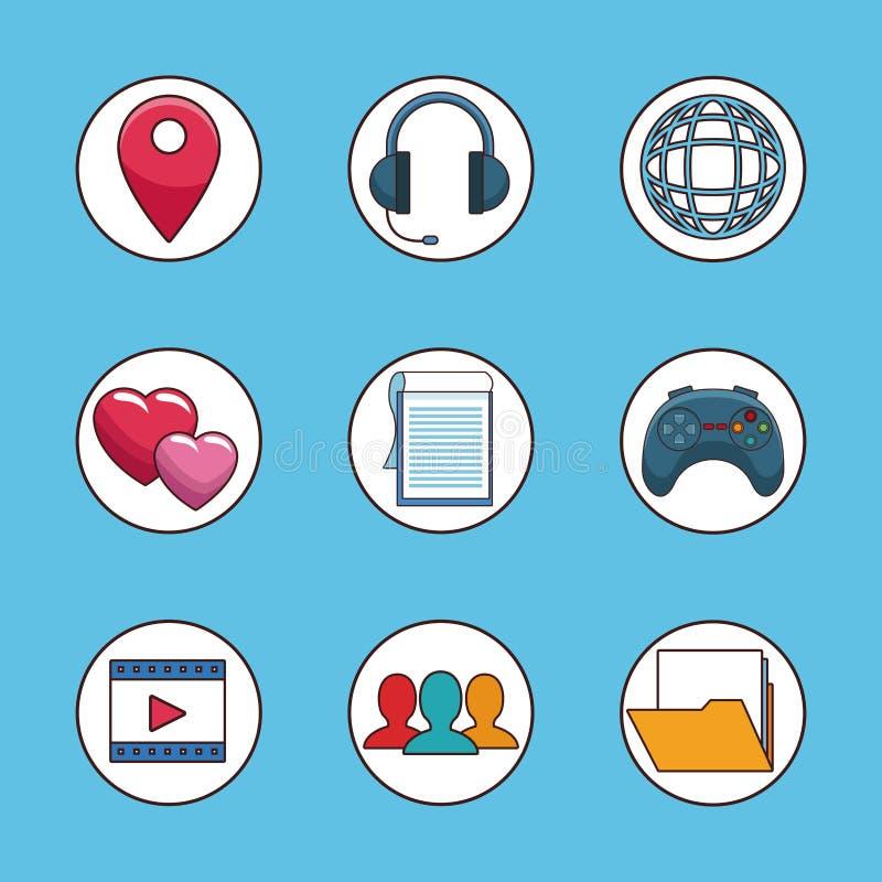 Sistema de símbolos sociales de la red ilustración del vector