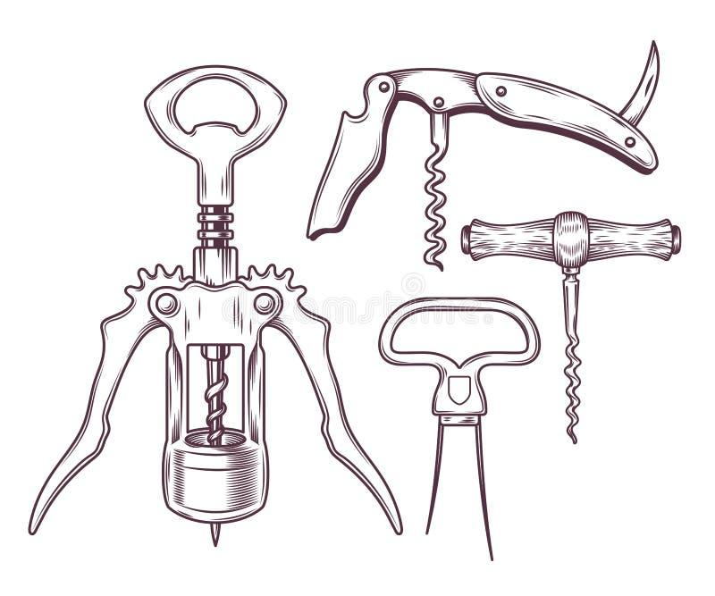 Sistema de sacacorchos, barrenas de cola, abrelatas del vector libre illustration