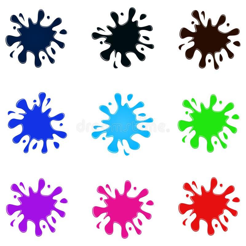 Sistema de salpicaduras coloreadas imagen de archivo libre de regalías