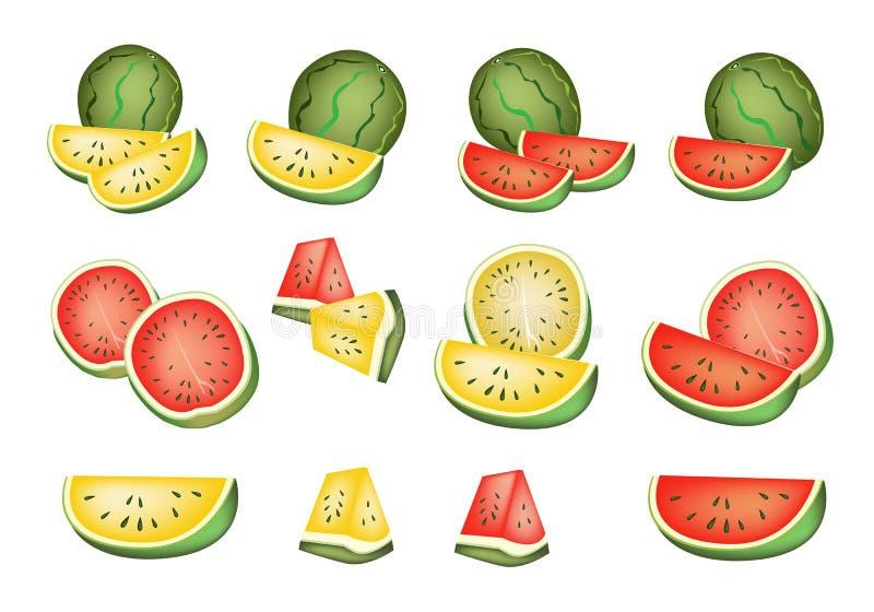 Sistema de sandías rojas y amarillas frescas deliciosas libre illustration