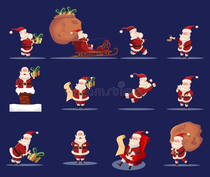 Sistema de Santa Claus Funny Caroon Character Icon stock de ilustración