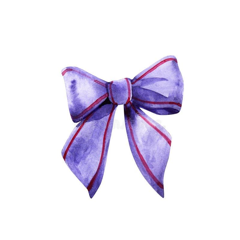 Sistema de seda de los arco-nudos de la acuarela Nudo colorido aislado para la decoración y diseño en el fondo blanco Arco violet imagen de archivo libre de regalías