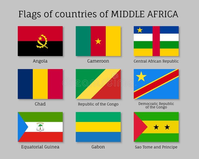 Sistema de seda medio de la bandera de África stock de ilustración