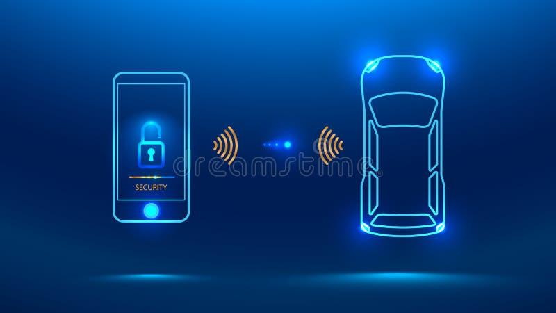Sistema de segurança esperto do carro ilustração royalty free