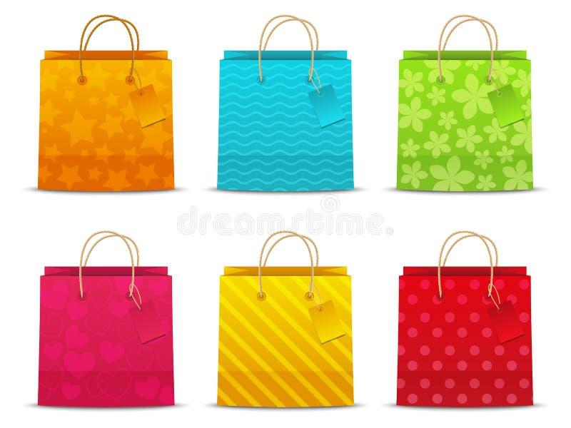 Sistema de bolsos de compras del color stock de ilustración