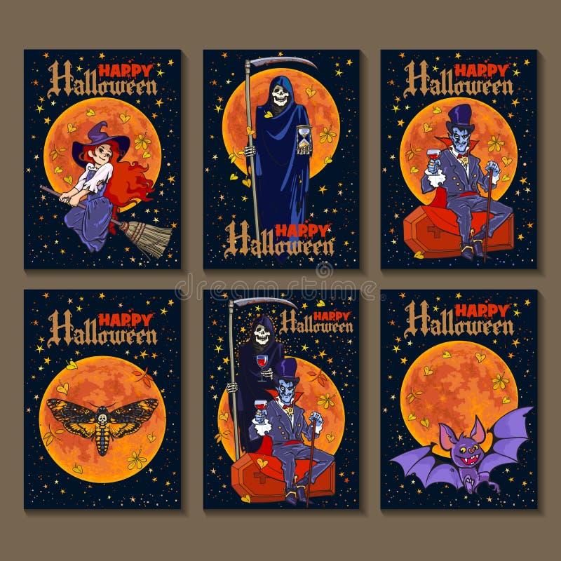 Sistema de seis carteles de Halloween del estilo de la historieta con los caracteres de Halloween Vector stock de ilustración