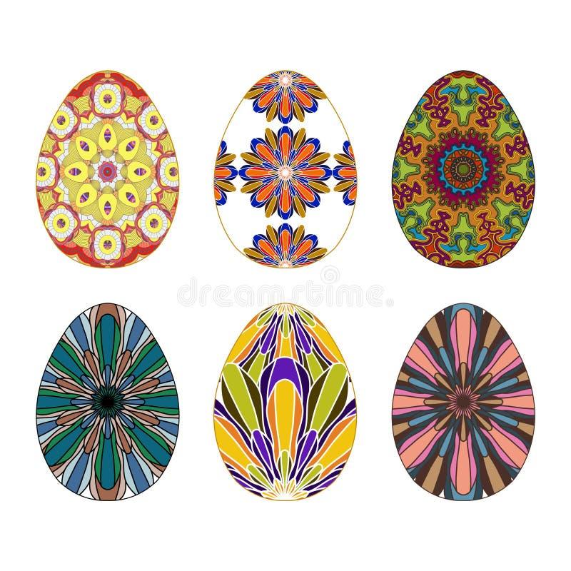 Sistema de seis huevos de Pascua pintados a mano coloridos con golpeteo de la mandala ilustración del vector