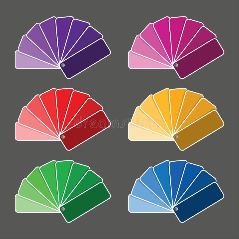 Sistema de seis paletas de colores ilustración del vector