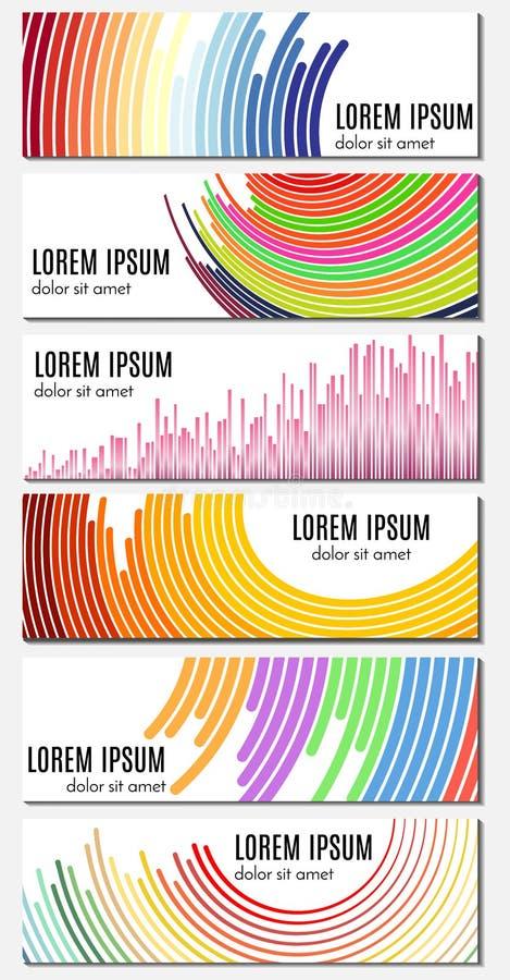 Sistema de seis portadas abstractas coloridas con las líneas curvadas y del lugar para el texto libre illustration
